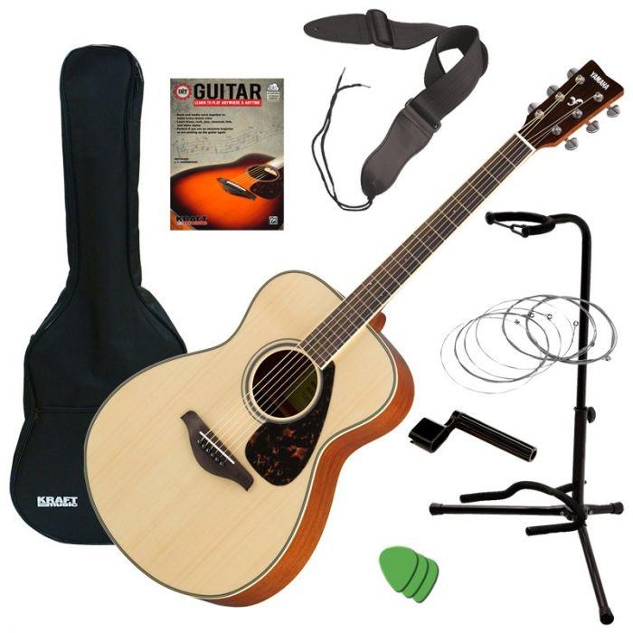 Yamaha FS820 Small Body Folk Acoustic Natural and AxPak Guitar Accessory Pack Bundle