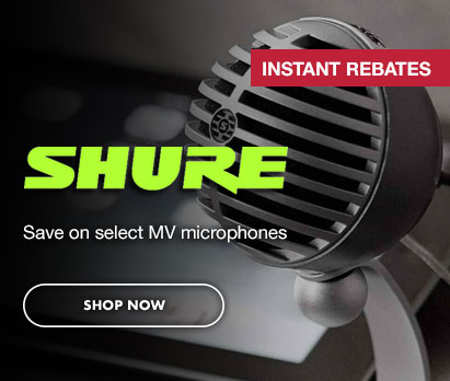 Image of Shure MV7 Podcast Microphone with text: Shure Instant Rebates: Save on select MV microphones. Click image to learn more