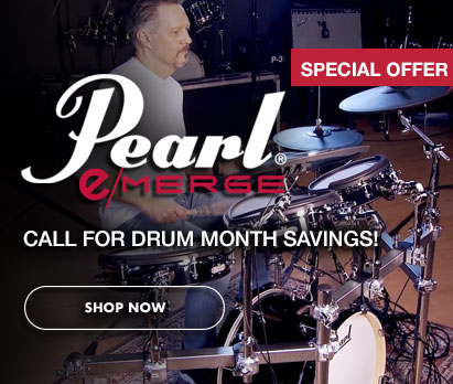 Image of man playing Pearl eMerge kit with text: Pearl eMerge Special Offer. Call for Drum Month savings! Click image to shop now