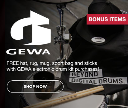 Image of GEWA gear with text: GEWA BONUS ITEMS. Free hat, rug, mug, sport bag and sticks with GEWA electronic drum purchases! Click image to shop now