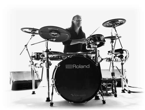 Image of Roland man playing a Roland TD-50 electronic drum set