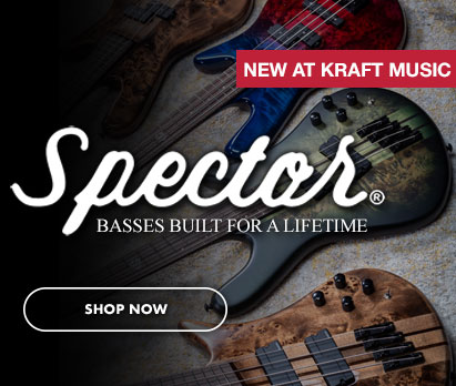 """Image of Spector basses with Spector logo and """"NEW AT KRAFT MUSIC"""". Click image to shop now."""