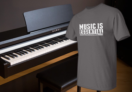 Music is Essential T-shirt floating over a Kawai digital piano