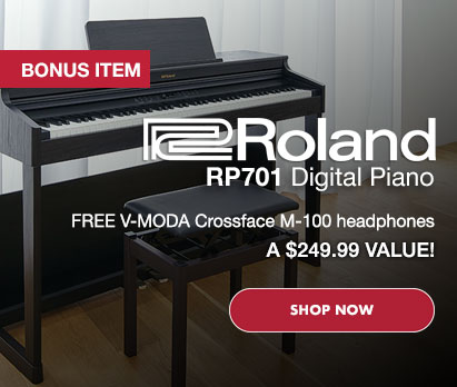 Image of ROLAND RP701 Digital Piano with words overlaid. Roland RP701 Digital Piano. FREE V-MODA Crossfade M-100 headphones. A $279.99 VALUE. Click image to shop now