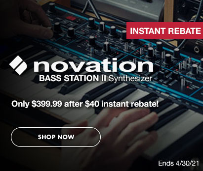 Novation Bass Station II Synthesizer. Only $399.99 after $40 instant rebate! Ends 4/30/21. Click image to shop now.