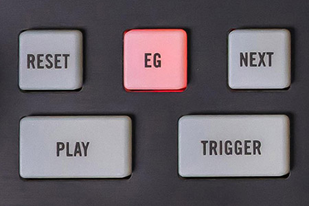 detail image of Moog Subharmonicon panel showing sequencer control buttons with EG button lit