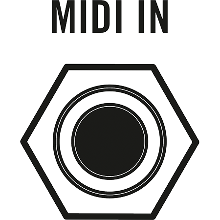 detail illustration of Moog Subharmonicon patch panel showing MIDI input