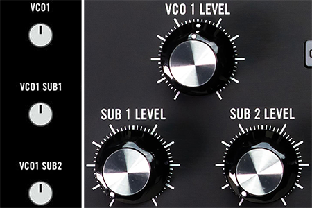 collage image with VCO mixer control detail illustration from Moog Subharmonicon workshop edition to the left of VCO mixer control detail image from Moog Subharmonicon retail edition