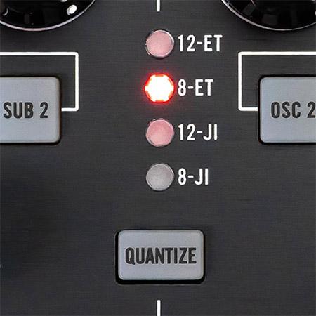 detail image of Moog Subharmonicon panel showing quantize controls