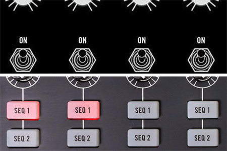 collage image with sequencer control detail illustration from Moog Subharmonicon workshop edition above sequencer control detail image from Moog Subharmonicon retail edition