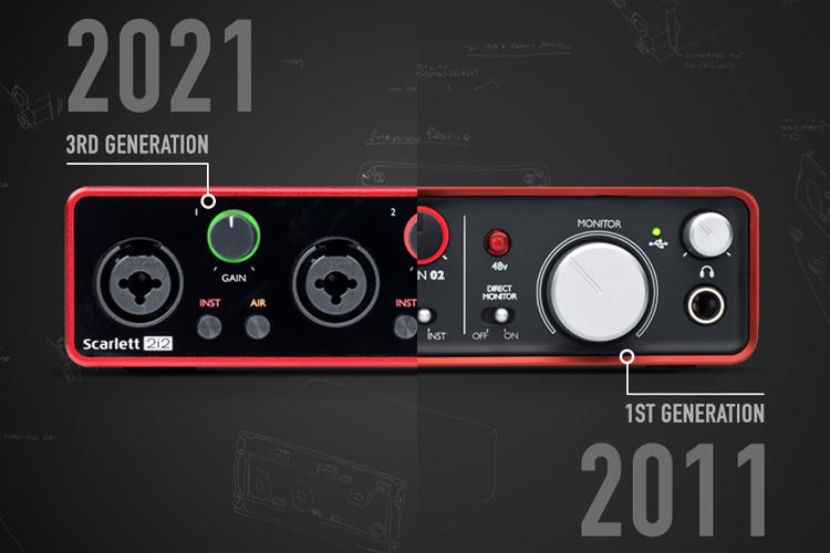 Image showing split of 2011 1st generation Scarlett 2i2 and 3rd generation 2021 Scarlett 2i2