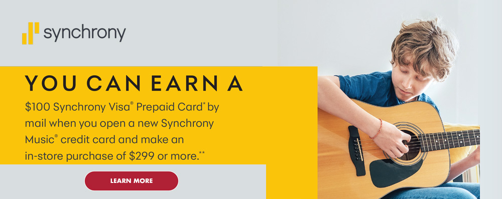 You can earn a $100 Synchrony Visa Prepaid Card by mail when you open a new Synchrony Music credit card and make an in-store purchase of $299 or more. Click image to learn more