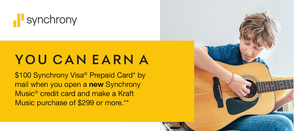 You can earn a $100 Synchrony Visa Prepaid Card by mail when you open a new Synchrony Music credit card and make an in-store purchase of $299 or more.