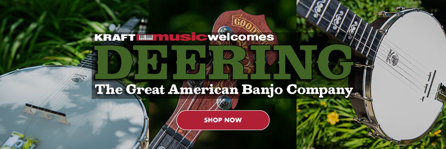 Kraft Music Welcomes Deering, The Great American Banjo Company. Click image to shop now.