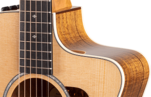 detail image of Taylor 214ce-K DLX showing Venetian cutaway