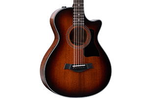 close-up front view of Taylor 362ce showing Grand Concert body shape