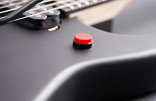 detail image of EVH 5150 Standard body showing killswitch control button on lower bout