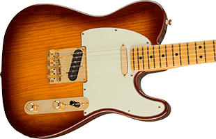 close-up perspective view of Fender 75th Anniversary Commemorative Telecaster showing top and right side of body and portion of fretboard