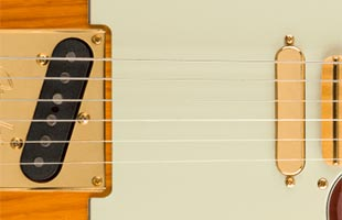 detail image of Fender 75th Anniversary Commemorative Telecaster showing Fender Custom Shop Twisted Tele pickups