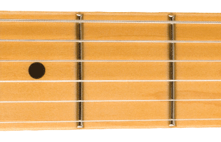 detail image of Fender 75th Anniversary Commemorative Telecaster fretboard showing rolled edges
