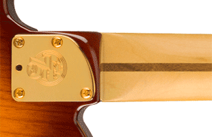 detail image of Fender 75th Anniversary Commemorative Telecaster showing neck heel