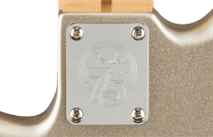 detail rear view of Fender 75th Anniversary Precision Bass showing commemorative anniversary neck plate
