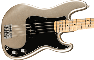 close-up perspective view of Fender 75th Anniversary Precision Bass showing top and right side of body and portion of fretboard