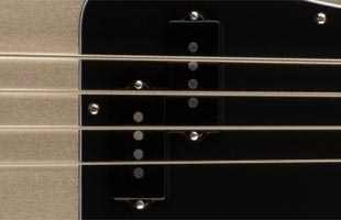 detail top image of Fender 75th Anniversary Precision Bass showing vintage-style 50s P-Bass pickup