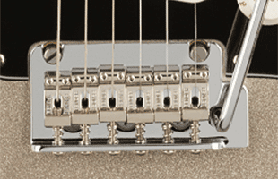 detail top view of Fender 75th Anniversary Stratocaster showing 2-point tremolo bridge