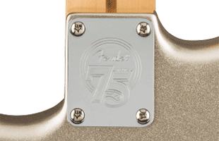 detail back view of Fender 75th Anniversary Stratocaster showing commemorative neck plate