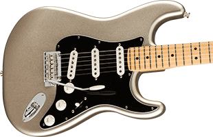 close-up perspective view of Fender 75th Anniversary Stratocaster showing top and right side of body and portion of fretboard