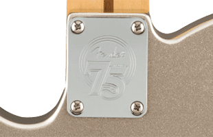 detail view of Fender 75th Anniversary Telecaster showing commemorative neck plate
