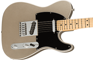 close-up perspective view of Fender 75th Anniversary Telecaster showing top and right side of body and portion of fretboard