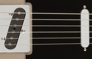 detail view of Fender 75th Anniversary Telecaster showing vintage-style 1950s Telecaster pickups