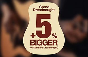 graphic with Ibanez Grand Dreadnought guitar body shape and text overlaid stating that it is five percent bigger than a standard dreadnought guitar