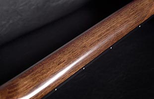 detail image of Ibanez AAD100EOPN acoustic guitar showing back of Low Oval grip neck