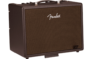 3/4 view of Fender Acoustic Junior tilted up on extended built-in kickstand showing front, left side and top