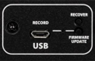 detail image of Fender Acoustic Junior showing micro-USB port on rear