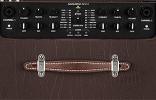 close-up view of Fender Acoustic SFX II top showing control panel