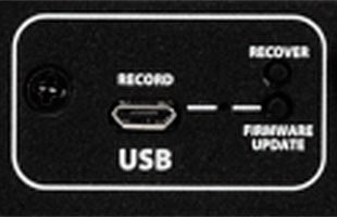 detail image of Fender Acoustic SFX II showing micro-USB port on rear