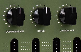 detail image of Darkglass Adam panel showing distortion and compression control knobs