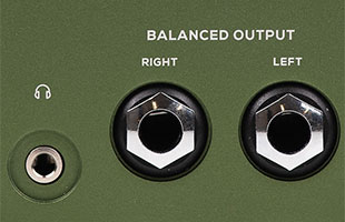 detail image of Darkglass Adam showing headphone output and dual stereo line outputs