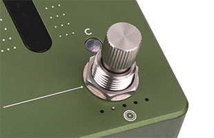 detail image of Darkglass Adam stomp switch showing side ridges for potentiometer function