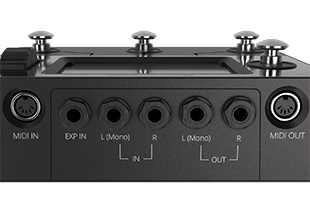 rear view of Singular Sound Aeros showing MIDI in and out ports, stereo audio input/output connections and expression pedal input