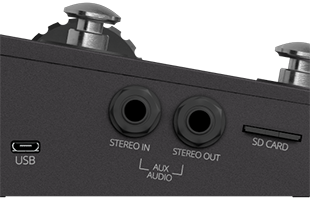 detail view of Singular Sound Aeros left side showing USB port, auxiliary audio input/output connections and SD card slot