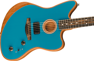 close-up perspective view of Fender American Acoustasonic Jazzmaster showing top and right side of body and portion of fretboard