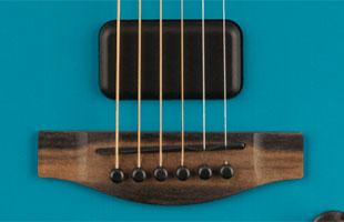 detail image of Fender American Acoustasonic Jazzmaster showing Fender Acoustasonic Shawbucker pickup