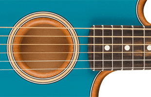 detail image of Fender American Acoustasonic Jazzmaster showing soundhold and portion of fretboard