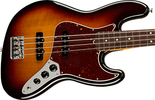 close-up top view of Fender American Professional II Jazz Bass showing body and part of neck