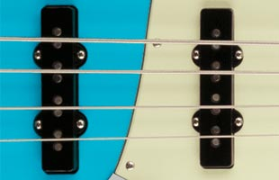 top detail image of Fender American Professional II Jazz Bass showing pickups